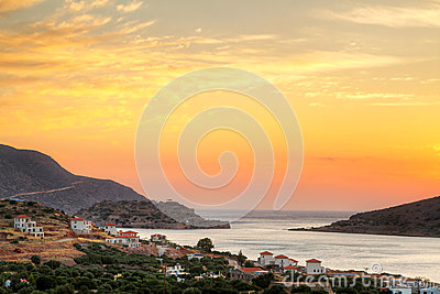 Amazing sunrise at Mirabello Bay on Crete