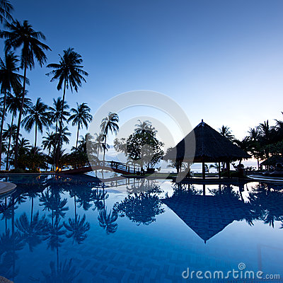 Amazing sunrise at swimming pool with palms