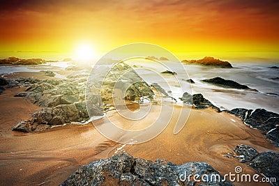 Amazing sunset at Atlantic ocean
