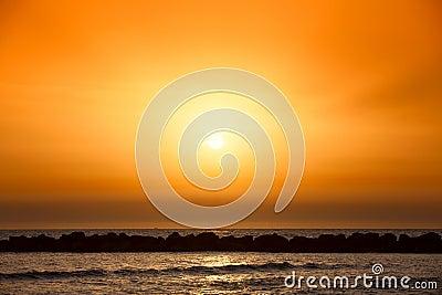 Amazing sunset on the beach