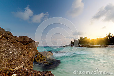 Amazing sunset at Caribbean Sea