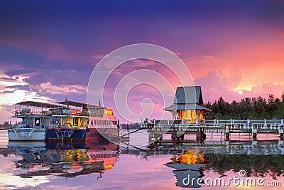 Amazing sunset at the harbor of Koh Kho Khao island