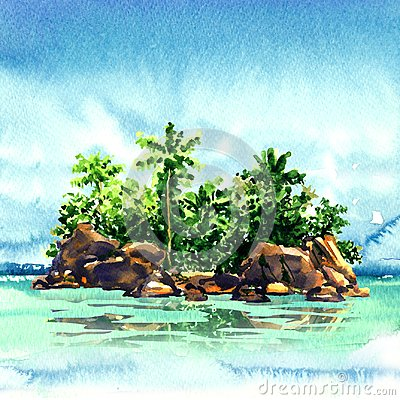 Free Amazing Tropical Island With Palm Trees, Rocks From The Sea, Maldivian Atoll In Ocean, Panorama, Watercolor Illustration Royalty Free Stock Image - 110712236
