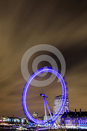 Amazing view of London Eye at night Editorial Stock Image