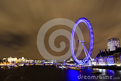 Amazing view of London Eye at night Editorial Photography