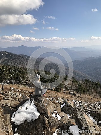 Landscape from peak of mountain Falaza. Stock Photo