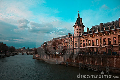Amazing view over Seine,bridge and building Paris