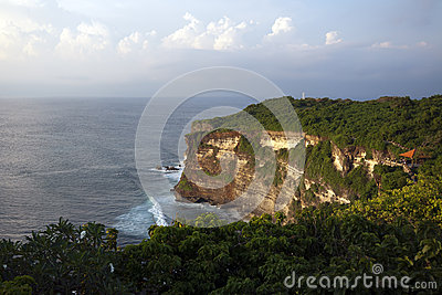 Amazing view of steep cliff and ocean