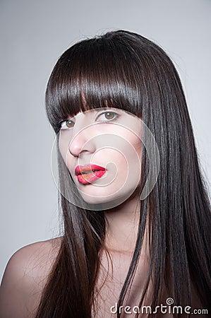 Amazing woman with long straight dark hair