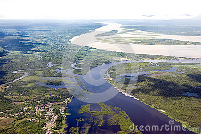 Amazon flooding time - aerial view