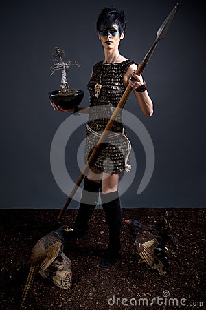 Amazon-priestess with holy tree and spear