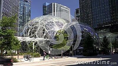 Amazon Spheres on their headquarters campus, Seattle, Washington stock footage