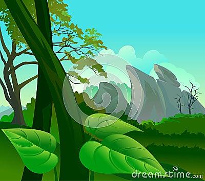 Amazonas-Regen-Waldflora und -fauna