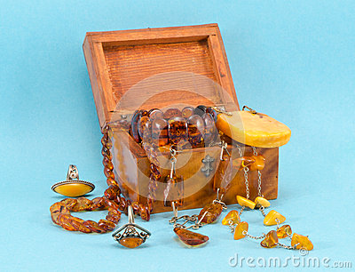 Amber apparel jewelry retro wooden box on blue