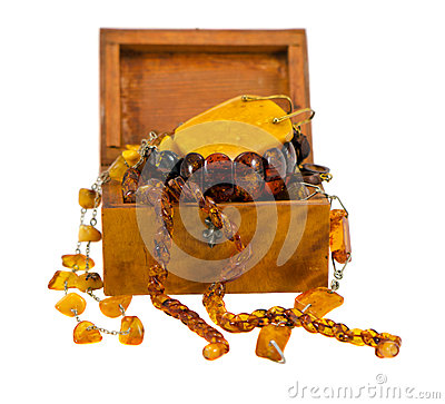 Free Amber Apparel Jewelry Retro Wooden Box On White Stock Photography - 26482392