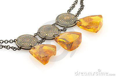 Amber necklace, isolated on white