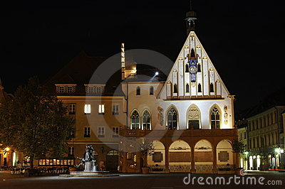 Amberg, old town-hall at night