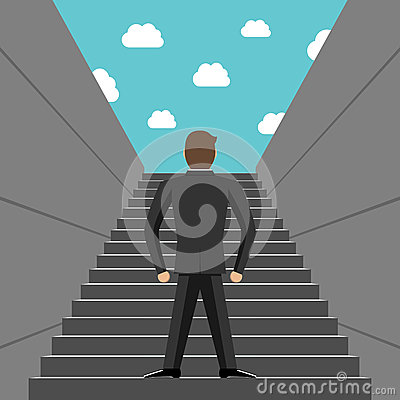 Ambitious businessman climbing steps Vector Illustration
