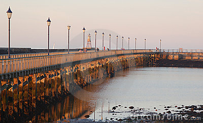 Amble harbour at sunset