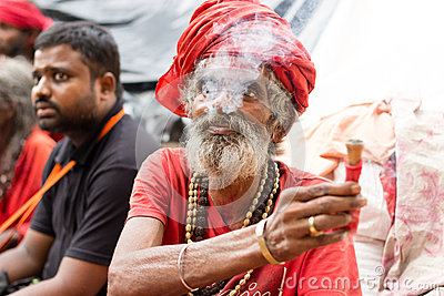 A hindu monk at Kamakhya Temple, Guwahati Editorial Photo