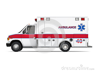 Ambulance Car Isolated on White Background. Side View