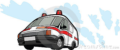 Ambulance car in motion