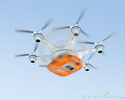 Ambulance drone delivers AED kit for emergency medical care concept. Stock Photo