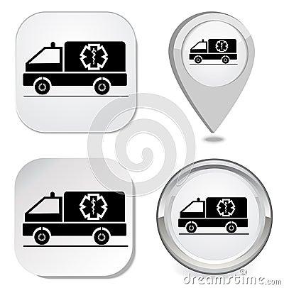 Ambulance icon sticker button point marker