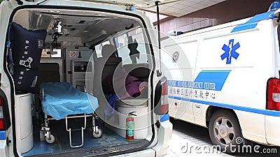 Ambulance inside stock footage