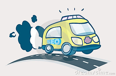 Ambulance SEO To The Rescue Cartoon Illustration