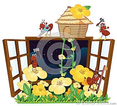 ameisen vogelhaus und fenster stockbilder bild 33691724. Black Bedroom Furniture Sets. Home Design Ideas