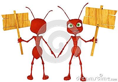 Ameisenkarikatur, die einen Gesangabschluß hochhält