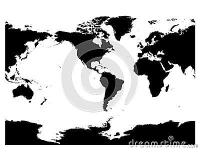 America centered world map. High detail black silhouette on white background. Vector illustration Vector Illustration