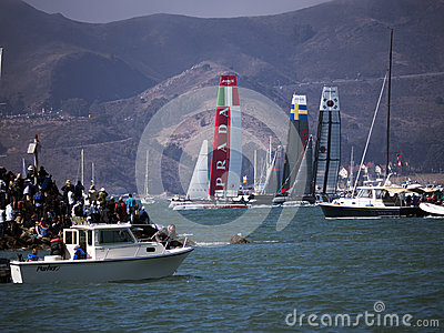 America Cup race in San Francisco Bay Editorial Photo