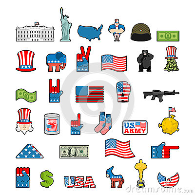 Free America Icon Set. National Sign Of USA. American Flag And Statue Stock Photo - 80384400