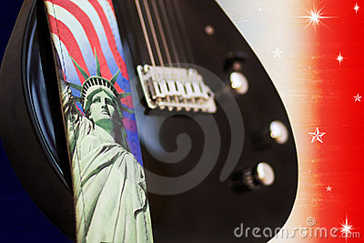 America Rocks - electric guitar over USA flag