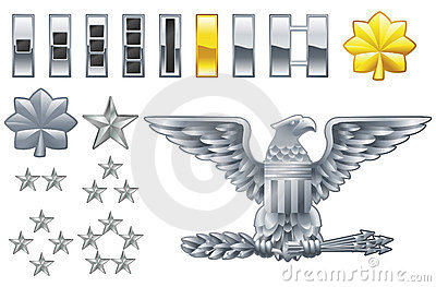 American army officer ranks insignia icons
