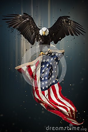 Free American Bald Eagle Flying With Flag. Royalty Free Stock Image - 110278386