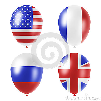 American, british, french and russian balloons set