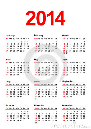 Royalty Free Stock Photos: American Calendar 2014 in vector