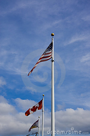 American Canadian and British Columbia Flag