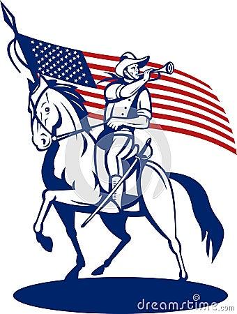 American cavalry bugle flag