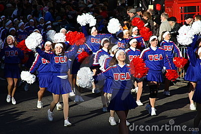 American Cheerleaders at the London Parade. Editorial Stock Image