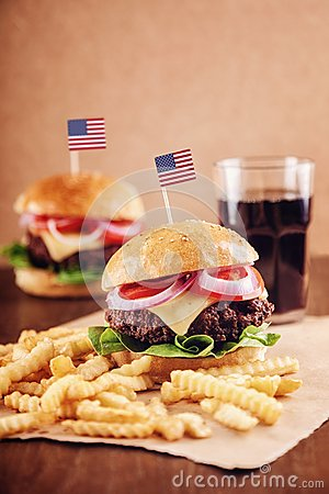 Free American Cheese Burger With French Fries And Cola Royalty Free Stock Images - 42350369