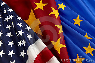 American, Chinese and European Union flags