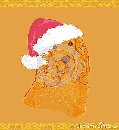 American cocker spaniel laying down wearing santa hat
