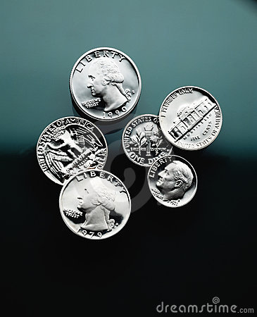 Free American Coins Close Up Royalty Free Stock Image - 7291686