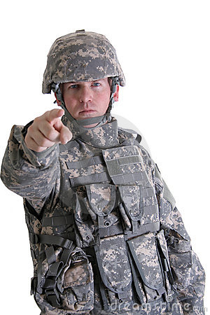 American Combat Soldier Pointing