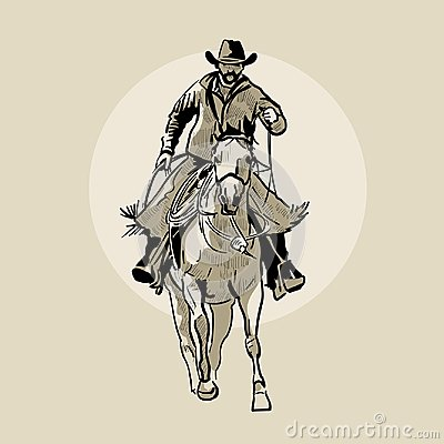 Free American Cowboy Riding Horse. Hand Drawn Illustration. Hand Sketch. Illustration. Royalty Free Stock Image - 114293546