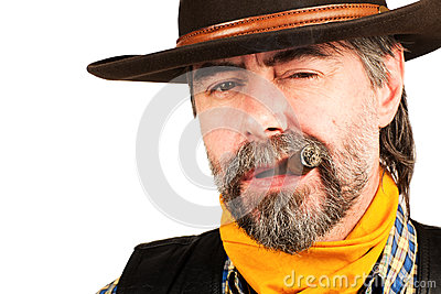 American cowboy smoking cigar